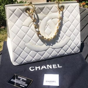 Chanel bag in white with a big logo. Rare
